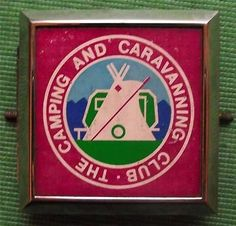 Vintage Chrome Car Mascot Badge with tent : THE CAMPING and CARAVANNING CLUB
