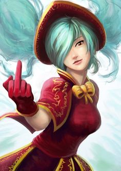 Sona flipping the bird, League of Legends