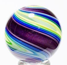"EDDIE SEESE ART GLASS MARBLES 1-7/8"" DICHROIC PURPLE ABSTRACT SWIRL MARBLE | eBay"