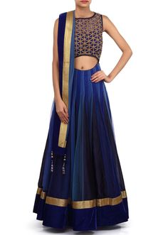 Anarkali suit featuring in alternate kali in blue net.  Yoke is embroidered in kundan and zardosi embroidery.  Its enhanced in waist line cut work.  Churidar is in blue lycra and dupatta in net with velvet border.  Slight variation in color is possible.  95% of our customers believe that the product is as shown on the website.