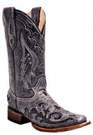 Corral Black Python Overlay Square Toe Boots A2402 Picture