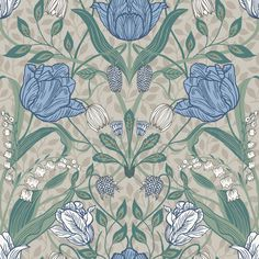 An ornate floral print with a Scandinavian flair, this beautiful wallpaper features an array of tulips and leaves. Off-white, light pink, cream and grey hues perfectly complement its painterly design. Tulipa is an unpasted, non woven wallpaper. Plant Wallpaper, Star Wallpaper, Embossed Wallpaper, Wallpaper Samples, Wall Wallpaper, Large Print Wallpaper, Interior Wallpaper, Damask Wallpaper, Blue Floral Wallpaper