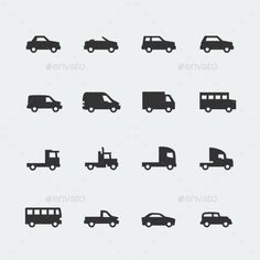 Vector Cars / Vehicles Mini Icons Set (JPG Image, Vector EPS, CS, 4167x4167, automobile, automotive, cabriolet, car, classic, icon, isolated, lorry, mini, minibus, pickup, pictogram, retro, sedan, set, sign, silhouette, small, sport, suv, symbol, traffic, trailer, transport, transportation, van, vector, vehicle, vintage, wheeled)