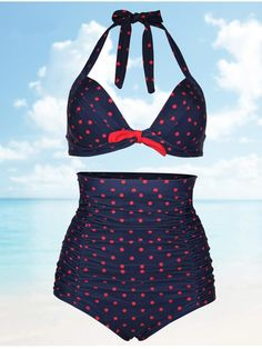 Plus Size Women Sexy Dots Bikini Sets High Waist Halter Swimsuits