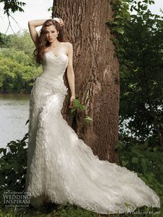 Spring 2011 wedding dress by Kathy Ireland 2be bridal - style G231120 Strapless crinkled chiffon sheath with sweetheart neckline