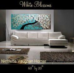 HUGE ORIGINAL Art  Abstract Impasto  Cherry Tree 'White  by artmod, $399.00