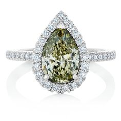 De Beers 1888 Coloured Master Diamonds Aura ring set with a 2.00-carat Fancy Greenish Yellow diamond