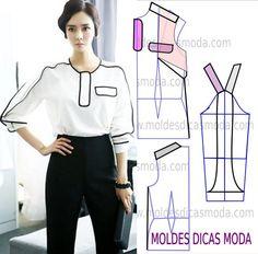 Passo a passo transformação do molde de blusa. Para fazer este modelo de blusa imprima o molde base de blusa e faça a gradação para o seu tamanho.