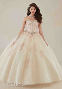 Morilee Valencia Quinceanera Dress 89086 Lace appliqués and beading on a tulle ball gown Colors: Aqua/white and Champagne/white