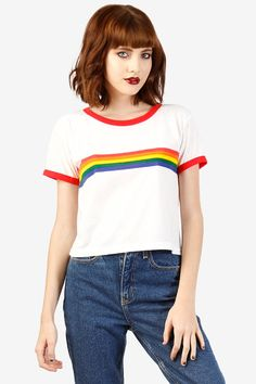 70s/80s/90s Vintage Rainbow Ringer Tee by EchoClubHouse on Etsy