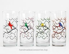 Four Seasons Bird Glasses – Hand Painted Winter Cardinal, Spring Hummingbird, Summer Finch and Autumn Bluebird, Bird Glassware set  Check It Out Now     $59.00    A special collection of four different birds perched on trees showcasing the Four Seasons. A Winter Cardinal with sno ..  http://www.handmadeaccessories.top/2017/03/14/four-seasons-bird-glasses-hand-painted-winter-cardinal-spring-hummingbird-summer-finch-and-autumn-bluebird-bird-glassware-set/