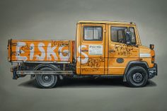 orange pik-up by kevin cyr Car Iphone Wallpaper, Graffiti Wall Art, Volvo, Car Illustration, Car Drawings, Automotive Art, Car Painting, Old Cars, Fast Cars