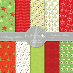 Christmas digital paper | Christmas papers perfect for holiday projects, cards, invitations, and scrapbooking.