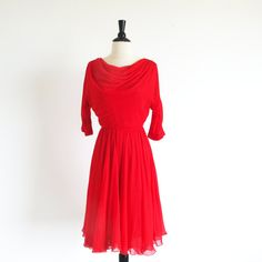 Vintage 50s 60s Red Dress Red Chiffon Dance by StraylightVintage