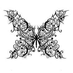 Filigree Butterfly Tribal Tattoo style for Becky?