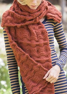 Knitting Pattern for Tanawha Scarf Wrap - Reversible welted stitch pattern designed in super bulky yarnbe worn as a scarf, shawl or crossed in front and pinned in the back to make a vest.Designed by Erica Schlueter