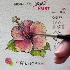 Watercolor Art Lessons, Watercolor Painting Techniques, Watercolor Projects, Watercolor Paintings, Easy Flower Drawings, Flower Drawing Tutorials, Flower Art Drawing, Watercolor Flowers Tutorial, Floral Watercolor