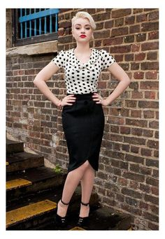 White with black polka dot top with black pencil skirt
