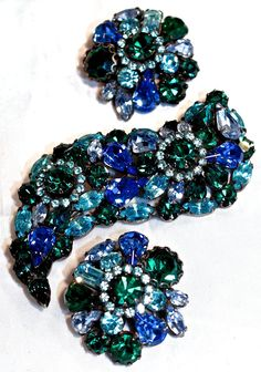 WEISS  Large & Chunky 3-Dimensional - Blue & Green Japanned Brooch & Clip Ons - Signed