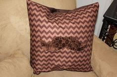 Brown Chevron with Moustache Applique Throw Pillow by kustomkate, $27.50