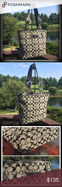 """🎀Roomy Black/Gray Coach Tote🎀 Wonderful bag that has been recently professionally cleaned & conditioned and ready for a new home. Signature fabric with black leather trim, silver hardware and black signature fabric interior. Zip top closure with 1 large exterior snap pocket and 1 interior zip pocket & 2 interior multifunction pockets. Length-13"""" Height-10"""" Depth-4"""" Strap Drop-9""""-10 1/2"""" GREAT CONDITION! Minor wear on bottom corners. Coach Bags Totes"""