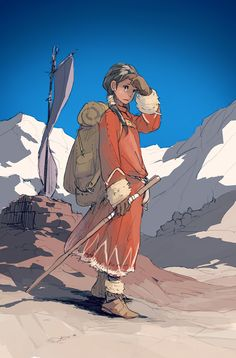 Escape the cold moubtain Character Creation, Character Concept, Character Art, Concept Art, Art And Illustration, Character Illustration, Ligne Claire, Pretty Art, Character Design Inspiration