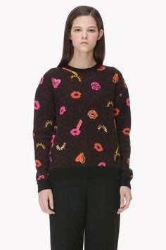 Lip heart pattern knit sweater