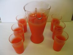 """Retro 1950 Blendo Glass Orange and Clear 10"""" Pitcher and 6 Tumblers.  My green set had a narrower pitcher and small juice glasses."""