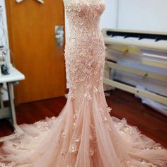Pink Lace Sweetheart Sexy Mermaid Wedding Party Dresses With Appliques – LoverBridal
