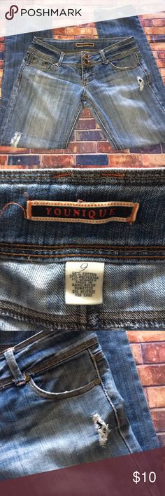 Boot cut jeans Younique boot cut jeans size 9. 68% cotton 31% polyester 1% spandex. Please see photos. Please share and follow so that I can follow you too.  Thank you! Younique Jeans Boot Cut