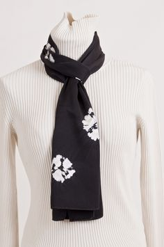 Simple Black and White shibori silk scarf, by Beech Hill