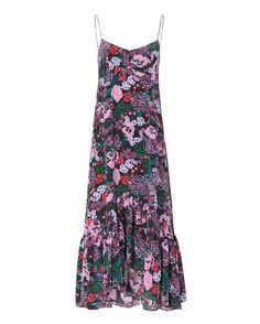 Saloni Inga Cami Dress: Bougainvillea print dress with spaghetti straps. Back zip. Ruffled hem. In black