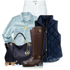 A fashion look from January 2015 featuring pocket long sleeve shirt, blue puffy vest and leather jeans. Browse and shop related looks.