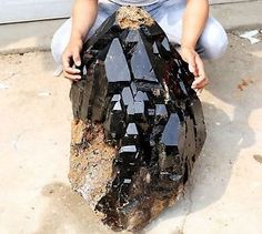 352lb-Natural-Beautiful-Black-skeletal-Elestial-QUARTZ-Crystal-Mineral-Specimen