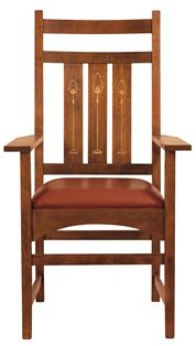 We have two of these	 89-353-A Harvey Ellis Arm Chair, with Inlay WOOD SPECIES:  Oak DIMENSIONS:  H44 W26 D24  DESCRIPTION:  Inlay on inside back only. Arm height: 26""