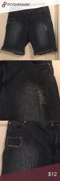 """Revolt Plus Size Bermuda Jean Shorts Revolt Plus Size Bermuda Jean Shorts size 18W, distressed, medium wash, 11"""" inseam when rolled down, 10"""" inseam when rolled up, flaps on pockets. Revolt Shorts Jean Shorts"""