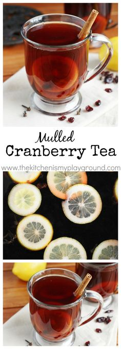 Holiday Mulled Cranberry Tea ~ simmered on the stove top or crockpot.    www.thekitchenismyplayground.com