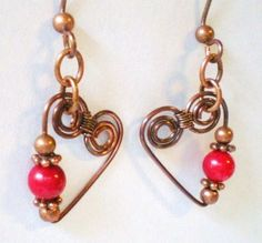Copper Hearts Earrings with Spirals and Red Coral Wire Wrapped | JewelryArtByDawn - Jewelry on ArtFire