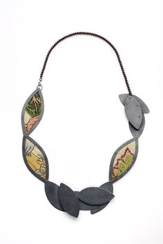 Anna Helena Van De Pol De Deus, The Parrot Necklace - Silver, Vintage Fabric, Garnets 2010