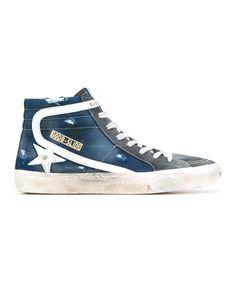 GOLDEN GOOSE Golden Goose Men'S  Blue/Grey Leather Hi Top Sneakers'. #goldengoose #shoes #sneakers