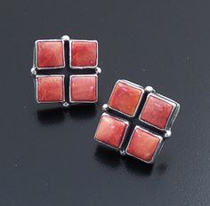 Roie Jaque (Navajo) - Red Spiny Oyster Shell & Sterling Silver Checkerboard Square Earrings #43904 $180.00
