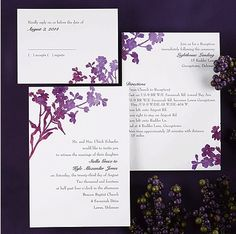 Purple Watercolor Double-Sided Wedding Invitations by Carlson Craft!
