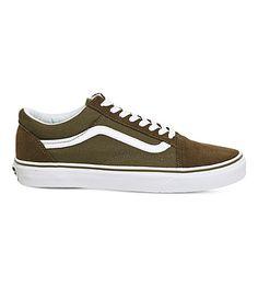 VANS Old Skool Canvas And Suede Sneakers in Dark Olive White