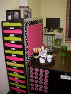 Neat way to make a filing cabinet pretty and more useful. Hang a hanging organizer over the back of the filing cabinet and cover the side of the filing cabinet with paper and border
