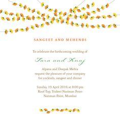 Mehendi & Sangeet Invitations Marigold Strings Sangeet