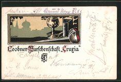 Alte Ansichtskarte: Künstler-AK Leoben, Studentenwappen Burschenschaft Cruxia, Korbschläger, Weinglas, Buch