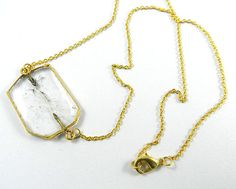 Elegant design Crystal gemstone pendant brass chain necklace, fashion jewelry #MagicalCollection #Pendant