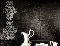 Contemporary Works 1035 Black Murano Glass Mosaic Furniture Art