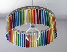 ArtDeco Lamp,  by Pani Jurek  Made with laboratory test tubes, inspired  on Nobel Prize Marie Curie