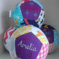 Items similar to Unique handsewn customised patchwork ball hand embroidered baby girl christening baby ball gift with toy rattle on Etsy Sewing Toys, Baby Sewing, Baby Christening Gifts, Diy Food Gifts, Baby Couture, Diy Ribbon, Wooden Art, Felt Toys, Baby Quilts